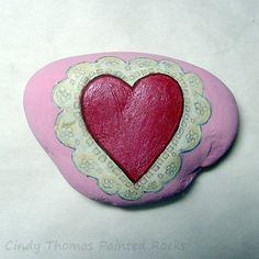 Lacy Valentine Heart Painted Rock