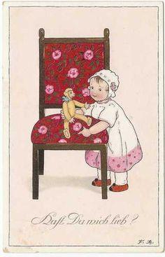 """AK Fritz Baumgarten"""" kleine Mädchen am Stuhl mit Teddy""""   eBay"""