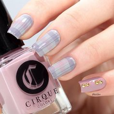 """""""Plaid. I used three new shades of Cirque Colors (""""Deco"""", """"Page Six"""" & """"Jane On Jane St"""") from their """"Metropolis"""" collection available on @cirquecolors…"""""""
