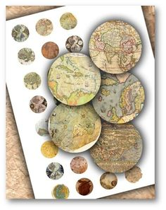 Vintage World Maps 1 inch Circles DOWNLOAD
