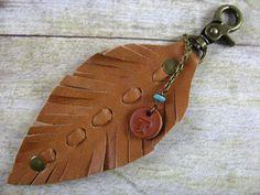 Leather Key Chain Tassel Key Ring Bullet Key by lillianschmoo