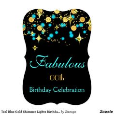 """Teal Blue Gold Shimmer Lights Birthday Party 5"""" X 7"""" Invitation Card"""