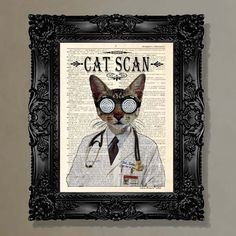 """Dictionary Print: -  """"Cat Scan"""" - upcycled book page, whimsical, Veterinary gift,  Doctor gift, Medical intern gift, cat lover. $10.25, via Etsy."""