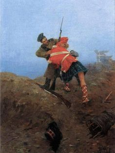 Fight with the Scottish archer in the Crimean War of oil on canvas, State Memorial Museum of A. Military Diorama, Military Art, Military History, British Army Uniform, British Uniforms, Scottish Music, Scotland History, Army Day, Crimean War