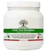 Kids Gut Buddies A tasteless probiotic powder for children:This is a specialist children's probiotic powder, containing: - 7 strains of friendly bacteria for full spectrum support of the digestive tract (including the child-specific Bifidobacterium infantis strain) - 1 billion live organisms per sachet - a prebiotic (Fructooligosaccharide or FOS), to support healthy levels of friendly bacteria. Suitable for all ages, but designed with vulnerable babies, toddlers and very young children in…