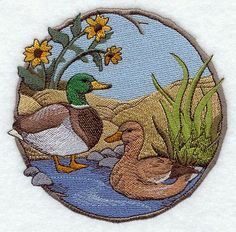 Machine Embroidery Designs at Embroidery Library! - On Sale Free Machine Embroidery Designs, Embroidery Applique, Embroidery Stitches, Sewing Appliques, Fabric Painting, Cross Stitch, Quilts, Color Change, Mallard