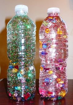 These Sensory Bottles are great for entertaining the kids on long road trips or just for play in the house.