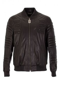 "PHILIPP PLEIN* ""Throne"" Leather Jacket, Black"