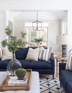 Home Interior Living Room .Home Interior Living Room Blue Couch Living Room, Blue And White Living Room, Navy Living Rooms, New Living Room, Home And Living, Living Room Decor Blue Sofa, Blue Home Decor, Coastal Living Rooms, Home Decor Ideas