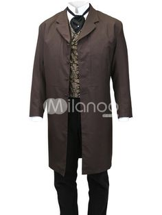 Dark Brown Lapel Full Length Buttons Mens Steampunk Coat (not just the coat, the entire outfit)
