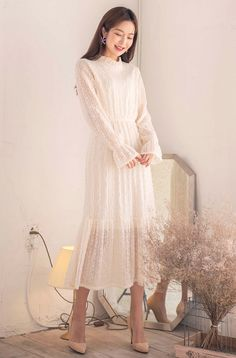 Shop feminine, adorable & ladylike Korean clothing at CHLO. Find out items ranging from dresses, tops to bottoms that will let out an instant charm. Also, discover items only available exclusively at Manon! Simple Dresses, Elegant Dresses, Beautiful Dresses, Short Dresses, Korean Fashion Dress, Korean Dress, Fashion Dresses, Modest Outfits, Classy Outfits