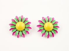 Vintage Enamel Flower Earrings Yellow Purple Green $15