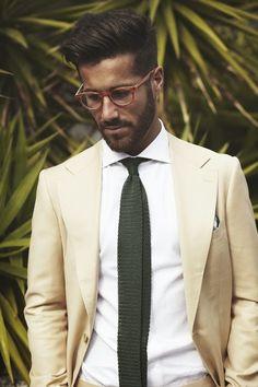 Dark green tie with cream. Nice combination