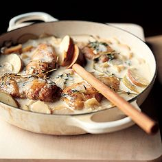 Chicken braised in cider with celeriac mash - Lisa Faulkner I Love Food, Good Food, Yummy Food, Tasty, Great Recipes, Dinner Recipes, Favorite Recipes, Food For Thought, Main Dishes