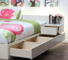 Extra Long Twin Captains Bed With 3 Drawers On Metal Tracks In Birch