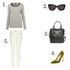 outfit idea (LE CATCH) 1. Topshop 2. Dita sunglasses 3. Forever 21 bag 4. Manolo Blahnik pumps 5. Victoria Beckham jeans