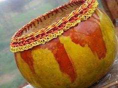 yellow and orange with rippled rim