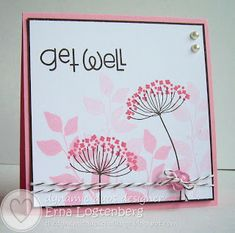 handmade get well card by Erna Logtenberg (Love To Stamp): color challenge:Dynamic Duos # 45 two pinks ... Summer silhouettes ... Stampin'Up!