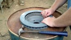 Brake Drum Forge with Fire Pot - Forging Knives, Forging Tools, Forging Metal, Build A Forge, Diy Forge, Homemade Forge, Homemade Tools, Metal Working Tools, Metal Tools