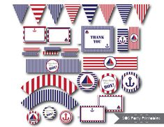 Red and Blue Nautical Baby Shower - Complete Set