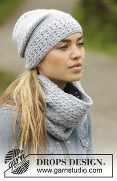 "Queen of the Chill - Crochet DROPS hat and neck warmer with star pattern in ""Nepal"". - Free pattern by DROPS Design"