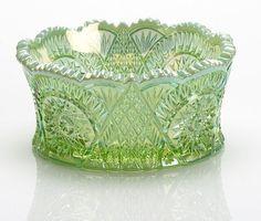 Mosser Glass Diamond Bowl - Green Opal Carnival