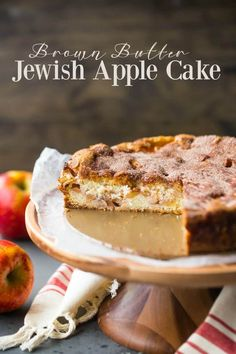 Apple Cake: insanely moist, cinnamon-y, and enriched with toasty brown butter and cream cheese.Jewish Apple Cake: insanely moist, cinnamon-y, and enriched with toasty brown butter and cream cheese. Healthy Apple Desserts, Cinnamon Desserts, Apple Cake Recipes, Best Dessert Recipes, Easy Desserts, Baking Recipes, Cookie Recipes, Winter Desserts, Homemade Desserts