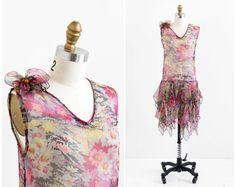 vintage 1920s flapper dress / 20s dress / Pink Floral Chiffon Great Gatsby Flapper Dress