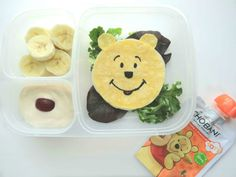 A yummy corn tortilla quesadilla is transformed into Winnie the Pooh in this cute and nutrient packed lunch. Fresh bananas and Chobani Tots Greek Yogurt Banana + Pumpkin pouch, who can say no to real fruits and vegetables that make this a healthy choice! Created by BrainPowerBoy.com (sp)