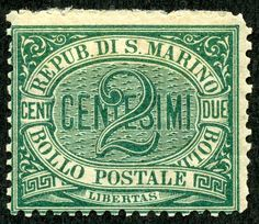 "1877 Scott 1 2c green ""Numeral"" ""Liberty"" is found on many San Marino stamps, as the tiny Republic has indeed managed that. The first typographed issue had the lower three denomination stamps with a ""Numeral"" design (1877-1895)."