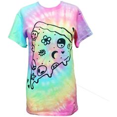 Pastel Pizza T-Shirt - Screen Printed T-Shirt - Pastel Grunge - Yin... ($20) ❤ liked on Polyvore featuring tops, t-shirts, shirts, rainbow t shirt, tie dyed shirts, grunge t shirts, rainbow tie dye shirt and tye dye shirts