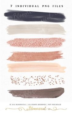 Rose Gold Brush Strokes Clip Art Hand Painted Muted by Bloomsical (Best Blush Asian) Colour Schemes, Color Combos, Colour Palettes, Watercolor Clipart, Orquideas Cymbidium, Deco Rose, Rose Gold Brushes, Drawn Art, Clip Art