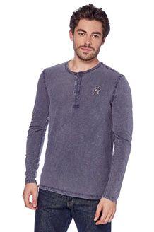 T-shirt de gola tunisina<br>Cinzento carbono mesclado