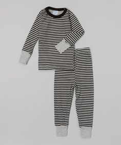 This Gray & Black Stripe Pajama Set - Infant, Toddler & Kids by Baby Steps is perfect! #zulilyfinds