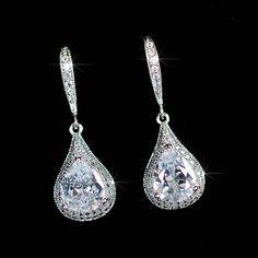Classic Handmade CZ Waterdrop Dangle Bridal Earrings (Sparkle-2328-U) #Handmade