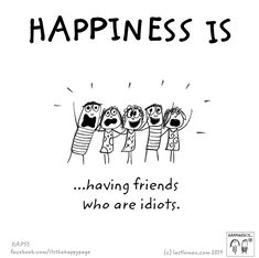 Happiness is having friends who are idiots