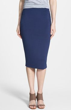 Caslon® Side Ruched Stretch Knit Midi Skirt (Regular & Petite) available at #Nordstrom