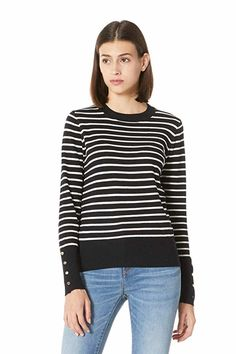 PLUMBERRY Women's Casual Long Sleeve Striped Tops Lightweight Pullover Boxy Knit Crewneck Solid Color Sweater (Small