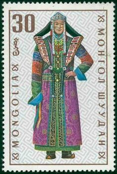 Glorious costumes from Mongolia. Mongolian postage stamp 1993