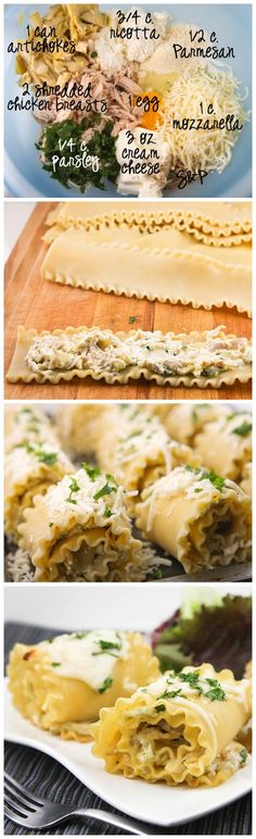 White Chicken Lasagna Roll-Ups: 2 chicken breast halves, cooked and shredded 13.75-oz. can artichokes, drained and chopped 3-oz. package cream cheese 1 cup mozzarella cheese, shredded 1/2 cup Parmesan cheese 3/4 cup ricotta cheese 1 egg 1/4 cup flat-leaf parsley, chopped Salt and pepper, to taste -
