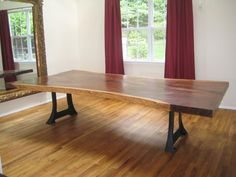 Claro Walnut Slab Table with Cast Iron Legs by HudsonValleyDesigns, $14975.00