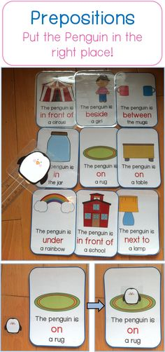 Children need to put the penguin in the right place based on the preposition & sentence! Great way to remember prepositions!