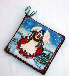 Stunning handmade hostess gift a a ridiculously low price!! Christmas Angel Kitchen Potholders in a set of 2 by sewinggranny, $6.00