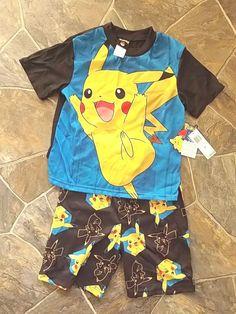Pokemon Pikachu Pyjamas - boys - 2 pieve - sz 10 - shorts and tshirt - christmas #pokemon #PajamaSets