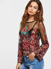 Shop Keyhole Back Embroidery Mesh Blouse online. SheIn offers Keyhole Back Embroidery Mesh Blouse & more to fit your fashionable needs. Boho Fashion, Fashion Outfits, Trendy Fashion, Fashion Trends, Moda Boho, Bohemian Mode, Beautiful Blouses, Sheer Fabrics, Looks Style