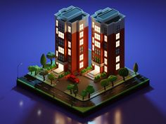 Isometric Apartment 2 - Night Scene designed by Brian Moon 🌙. Isometric Art, Isometric Design, Blender Models, Blender 3d, Pixel City, House 3d Model, Ancient Chinese Architecture, Cartoon House, Blender Tutorial