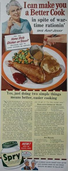 Aunt Jenny Spry ad with recipes for Home-Style Chicken an' Biscuits    Better Homes and Gardens - April 1943