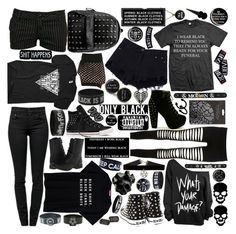 """""Rip the world and paint it fuckıng black."" ~ All black tag"" by iamrunningwithscissors ❤ liked on Polyvore"