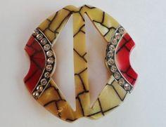 Wonderful Design! Art Deco Celluloid & Rhinestone Buckle