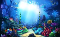 Game art for MURKA on Behance This artwork caught my eye because of the light space that is rather in the center of the image. This would be an example of an emphasis because of the color part being brighter than all the rest. Art And Illustration, Under The Sea Drawings, Orla Infantil, Mermaid Cave, Ocean Mural, Underwater Background, Hawaiian Party Decorations, Underwater Painting, Underwater Life